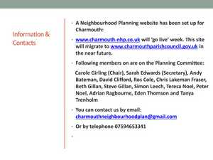 Open Forum Presentation Charmouth Neighbourhood Planning